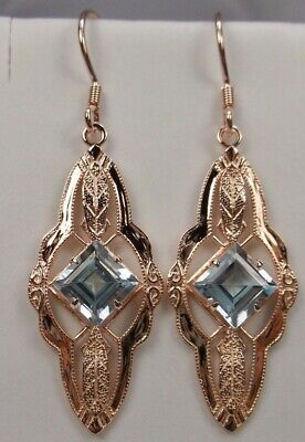 Natural Blue Topaz Victorian Sterling Silver &Rose Gold Earrings {Made To Order}