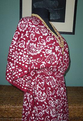 Hippie Print Robe (Vtg Hippie India Paisley Batik Border Print CAFTAN Robe Drawstring Waist)