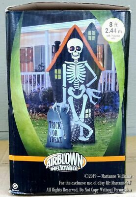 NEW 8 FT AIRBLOWN HALLOWEEN HAUNTED HOUSE SKELETON STARSPINNER GEMMY INFLATABLE