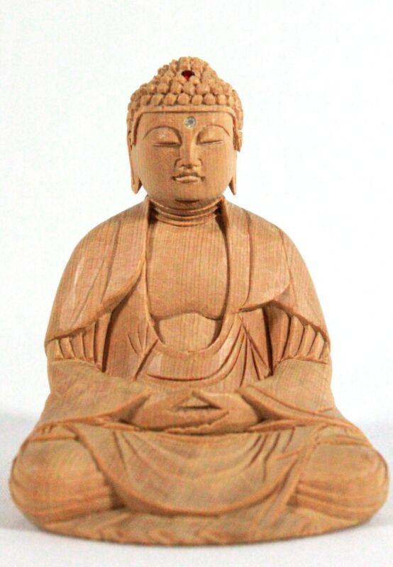 Vintage Shaka Nyorai Buddha Wooden Figurine Sense of Serenity