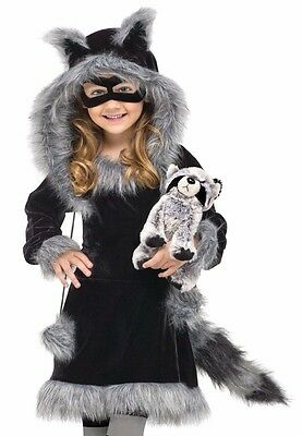 Sweet Raccoon Costume Girls Child Furry Racoon Dress Hoodie Toddler - 3T-4T, 4-6