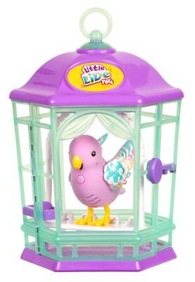 Bird Little Live Pets with Purple Cage~Blue Parakeet Toy~Sings & Talks! NEW!