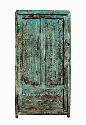 Chinese Distressed Blue Green Tall Iron Lock Armoire Wardrobe Cabinet cs2310