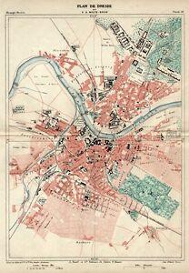 Dresden Stadtplan, Original-Lithographie von 1888