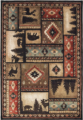 Rustic Lodge Deer - Lodge Cabin Bear Moose Deer Southwestern Rustic Area Rug **FREE SHIPPING**