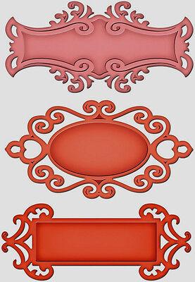 Spellbinders S5-030 Fancy Tags Two Cut Emboss 3 Die Candy Jar Vintage Wedding  (Die Candy Jar)