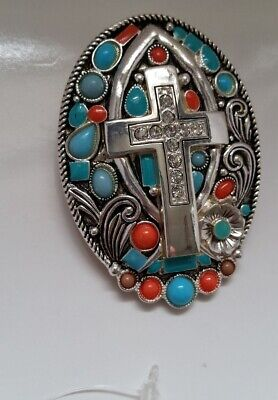 Silver-tone Turquoise Coral Crystal Cross Magnetic medallion Pendant N17-2/22
