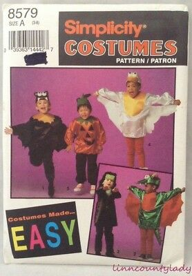 Uncut Childs Easy Halloween Costume Pattern Szs 3 - 8 Five Types Simplicity - Children's Halloween Crafts Easy