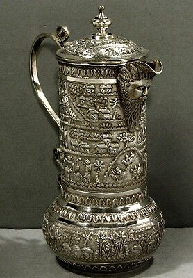 Indian Silver Pitcher    Wine Ewer      c1890      Signed               24 Oz.