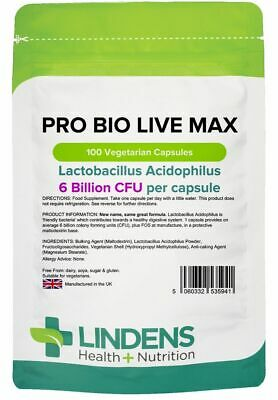 Pro Bio Live Max x 100 Capsules; 6 Billion CFU Probiotic; Lindens