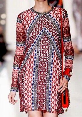 Tory Burch Beauvoir Metallic Guipure Crochet Runway Sheath Dress 6 $895