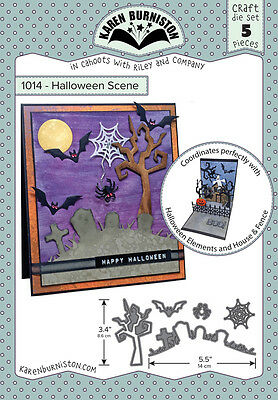 Karen Burniston 1014 - Halloween Scene Craft DIE SET 5 pieces Wafer Thin (Karen Halloween)