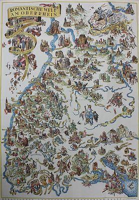 Leo Faller Karte Romantische Welt am Oberrhein  1930er Jahre  83,5 X 58,4 cm
