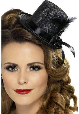 Black Mini Top Hat Black Feather Flapper Mad Hatter Costume Fancy Dress Womens - Mad Hatter Mini Hat