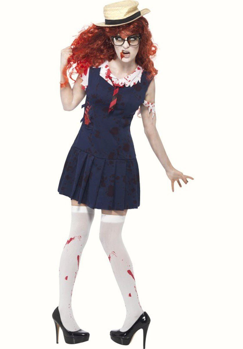 Womens Zombie College Student School Girl Fancy Dress Costume Halloween Outfit
