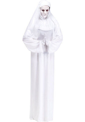 Damen Scary Mary Nonne Religiös Geist Halloween Kostüm Kleid - Geist Halloween Scary Kostüm