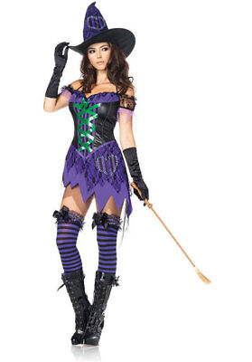 Crafty Cutie Witch Costume Leg Avenue M/L 12-14 Dress Hat Purple - Crafty Kostüm