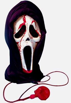 SCREAM BLEEDING HORROR HALLOWEEN MASK BLOOD HOODED UNISEX FANCY DRESS - Scream Blood Mask