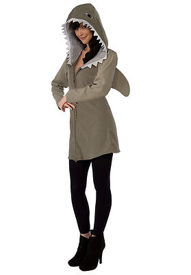 Womens Shark Hoodie Dress Fleece Hooded Fancy Dress Halloween Outfit Adult Small