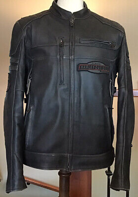 HARLEY DAVIDSON Men's L Vented Black Distressed Leather Jacket - Great Condition