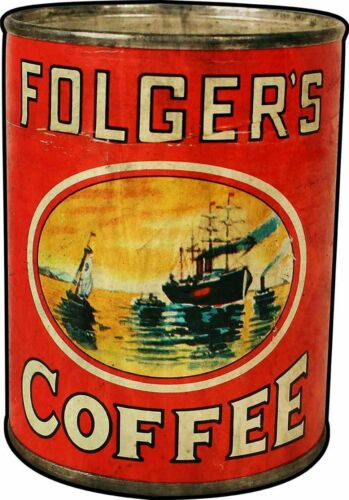 FOLGERS COFFEE SHIPS IN HARBOR LOGO HEAVY DUTY USA MADE METAL ADVERTISING SIGN