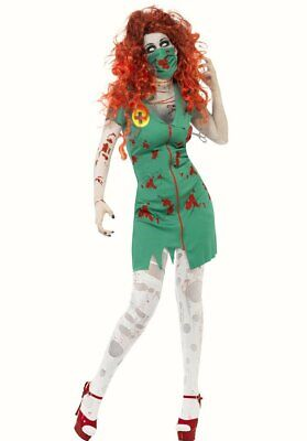 Zombie Scrub Nurse Paramedic Women Halloween fancy dress costume Green Face Mask](Halloween Paramedic Costume)