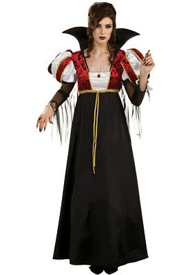 Royal Vampira Ladies Gothic Style Black & Red Empire Waist Halloween Costume S/M