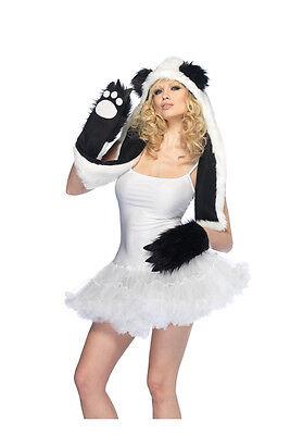 Sexy Plush Panda Bear Hood with Paw Scarf Costume Accessory Set - Panda Paws Costume