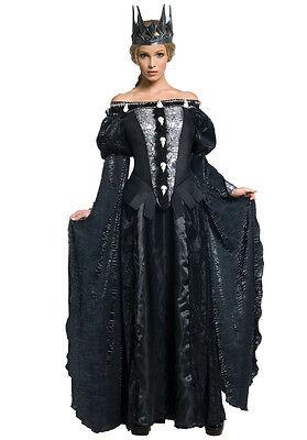 Queen Ravenna Licensed Snow White & The Huntsman Black Raven Skull Costume Dress ()