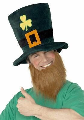 Herren Irischer Kobold Hut & Bart St.Patrick's Day Kostüm Kleid Outfit ()