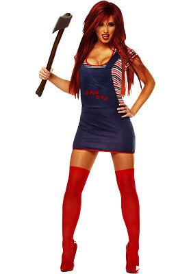 Womens Sexy Chucky Costume Chucky Horror Fancy Dress Halloween Dead Doll Costume