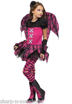 llener Engel Punky Fee + Wings Halloween Kostüm Kleid Outfit (Mädchen Gefallener Engel Kostüm)