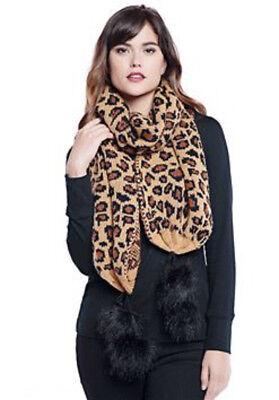 Donna Salyers Fabulous Faux Furs Leopard Print Knit Pom-Pom Scarf NEW Glam