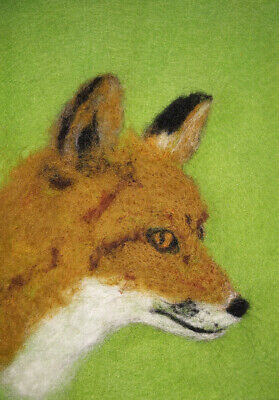 Fox - Needle Felted Card - Original Artwork - not a print