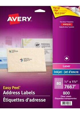 Avery 800 Clear Address Labels 12 X 1 34 Cx6210