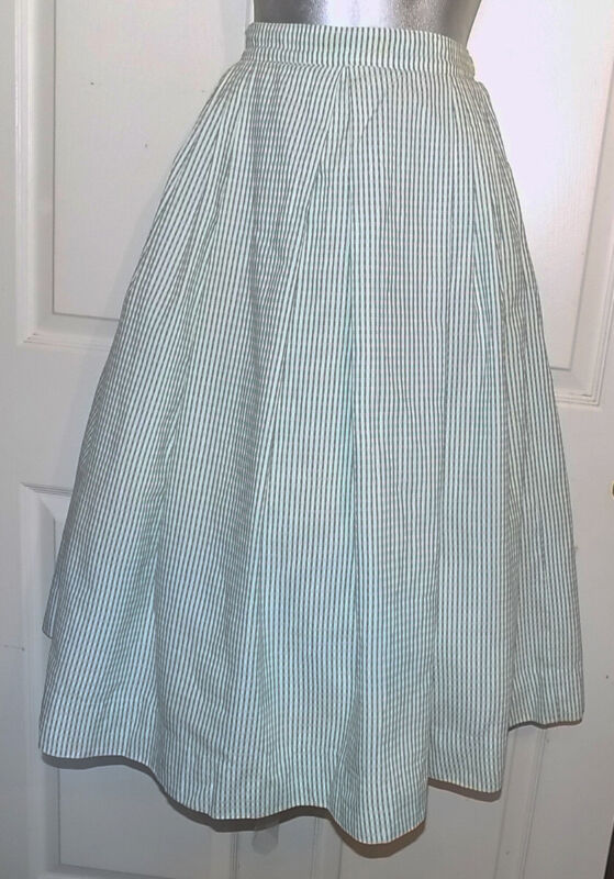 Vintage Aqua White woven Cotton Pleated Full Skirt W25