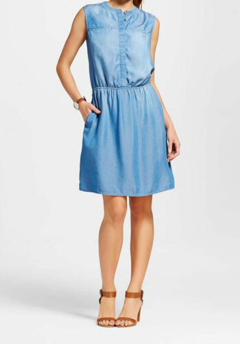 NWT Merona  Women's Light Indigo Tencel Sleeveless Shirt Dress SMALL