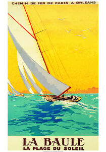 VINTAGE-SAILING-FRENCH-TRAVEL-POSTER-LA-BAULE-SAILBOAT-Charles-Allo-ART-PRINT