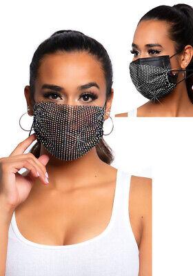 Elegante verstellbar Mund Nase Schutzmaske Gesichtsmaske Damen schwarz Strass