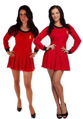 DELUXE WOMENS RED SPACE TIME TRAVELLER STAR TREK DRESS FANCY DRESS OUTFIT (Time Traveller Kostüm)