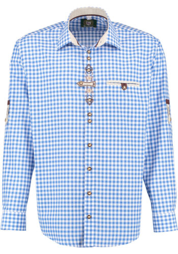 Traditional Shirt Blue Checked, Roll-Up, Embroidery On Button Placket,