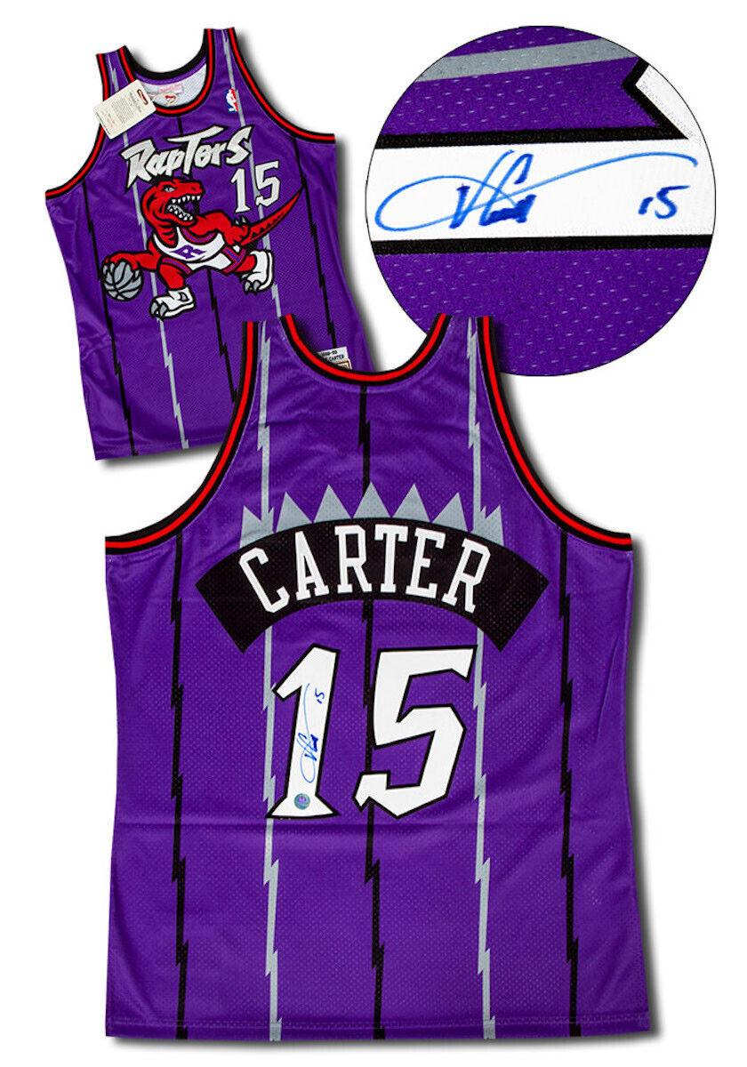 on sale 5474f 62270 Details about Vince Carter Toronto Raptors Signed Vintage Mitchell & Ness  Authentic Pro Jersey