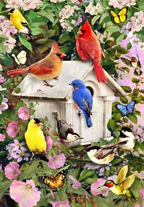 Songbird Bird house Butterfly Cardinal Hummingbird House Flag 28 x 40