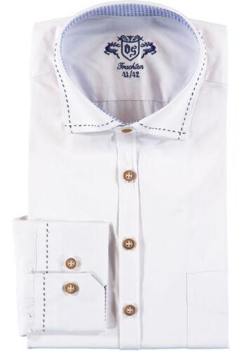 Herrentrachtenhemd White, Blue Zierstepp on Collar, Kragensteg Inside Blue Check