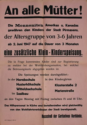 An alle Mütter ! Mennoniten Klein-Kinderspeisung Pirmasens 1947  Plakat