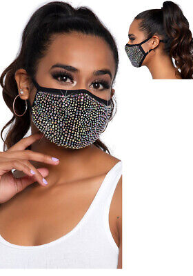 Edle Mund Nase Schutzmaske Damen schwarz Strass + Filtertasche