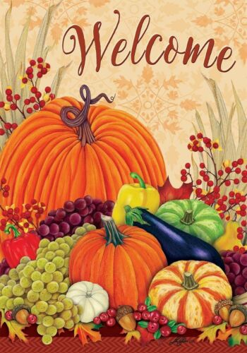 Welcome Pumpkins and Gourds Fall Autumn Sm Garden Flag Custo