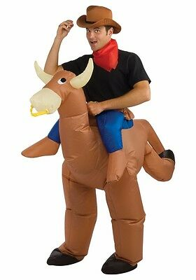 Bullrider Inflatable Costume Adult Funny Blow Up Cowboy Bull Rider Cow Rodeo - Cow Blow Up Costume
