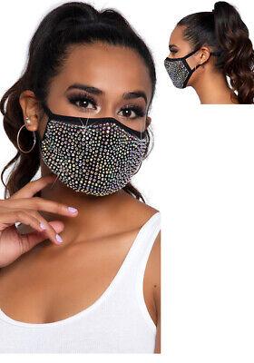 Mundschutzmaske Gesichtsmaske Maske Damen schwarz schimmernder Strass