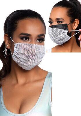Mund Nase Schutzmaske Gesichtsmaske Damen weiss verstellbar Strass Kristall